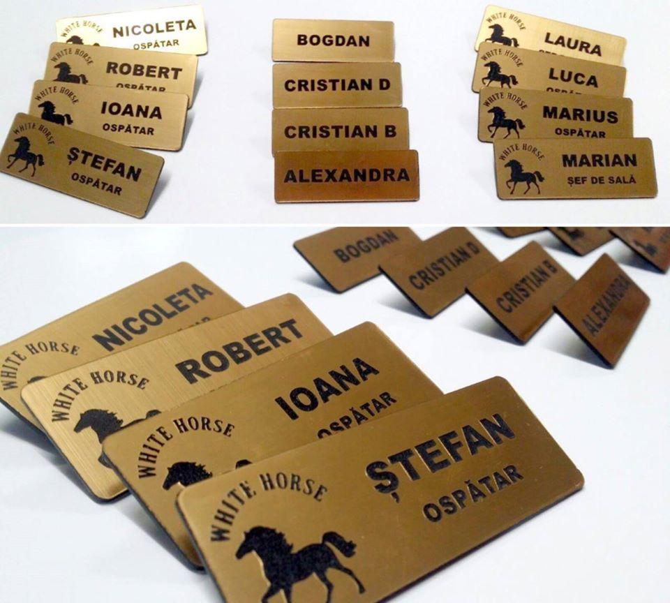 Ecusoane gravate ecusoane personalizate cu log si nume material auriu lucios auriu mat durabil perfect pentru colaboratori si colegi